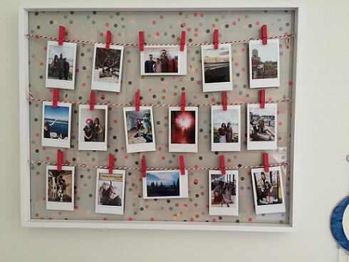 Varal de fotos com moldura