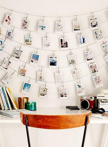 Varal de fotos com várias linhas