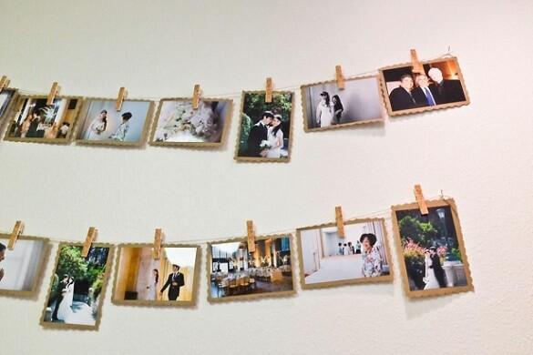 Varal de fotos de casamento