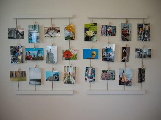 Varal de fotos de paisagem