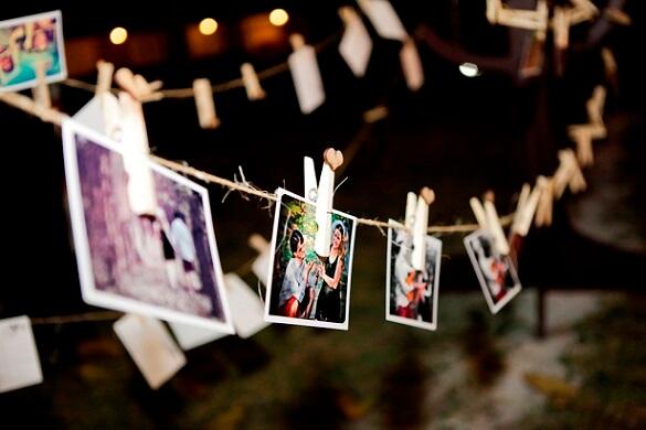 Varal de fotos em casamento