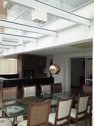 Varanda gourmet com telhado de vidro Projeot de Iago Patucci