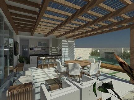 Varanda gourmet com telhado de vidro temperado Projeto de Talita Arruda Silva