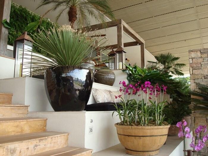 Vasos encantam a entrada dessa casa de fazenda