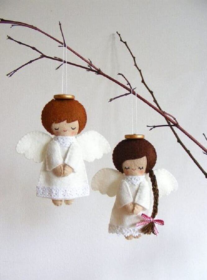 anjinhos para decoração de natal feito de artesanato em feltro