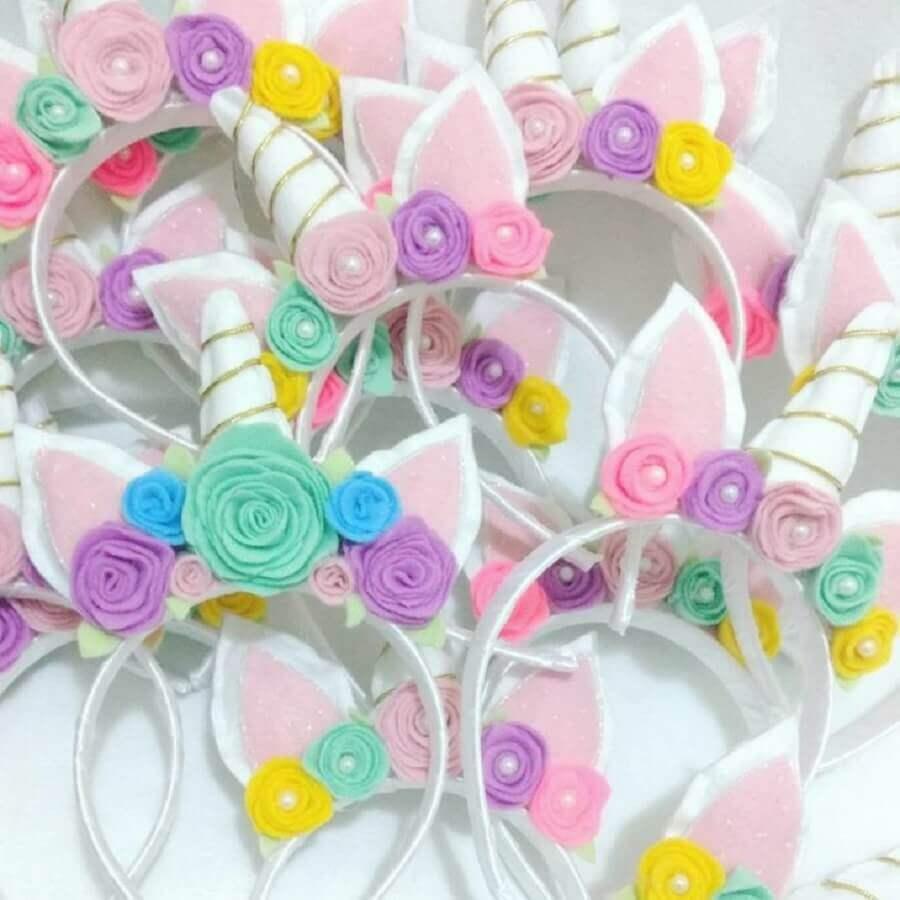 artesanato em feltro para tiara infantil de unicórnio