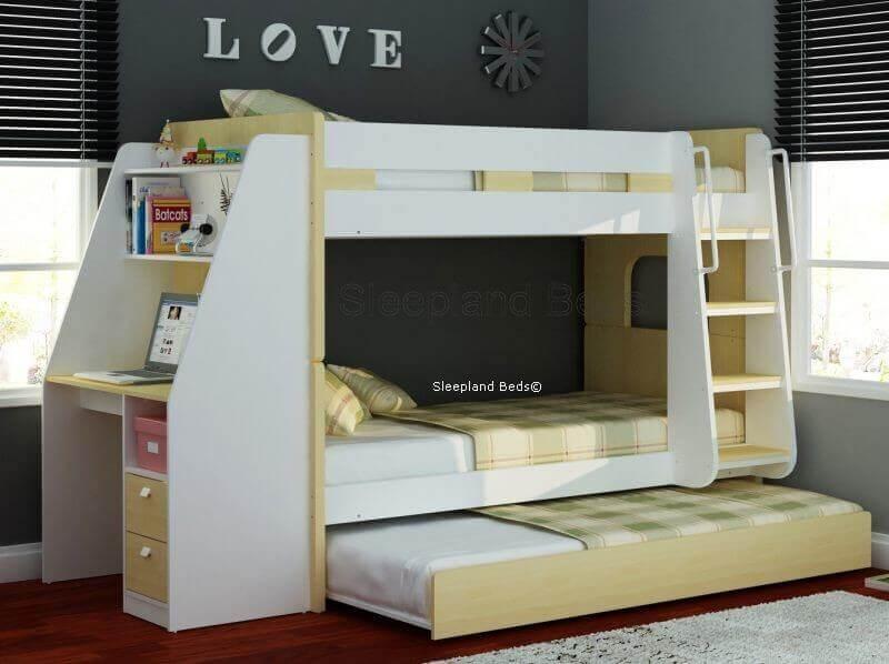 beliche com cama extra e escrivaninha