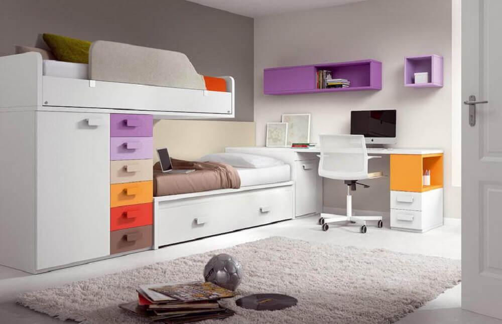 beliche com escrivaninha e gavetas