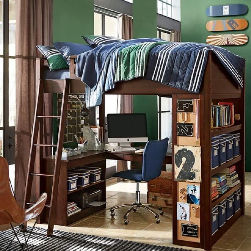 beliche com escrivaninha embaixo com prateleiras para livros