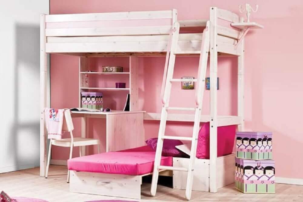 beliche infantil com escrivaninha de madeira