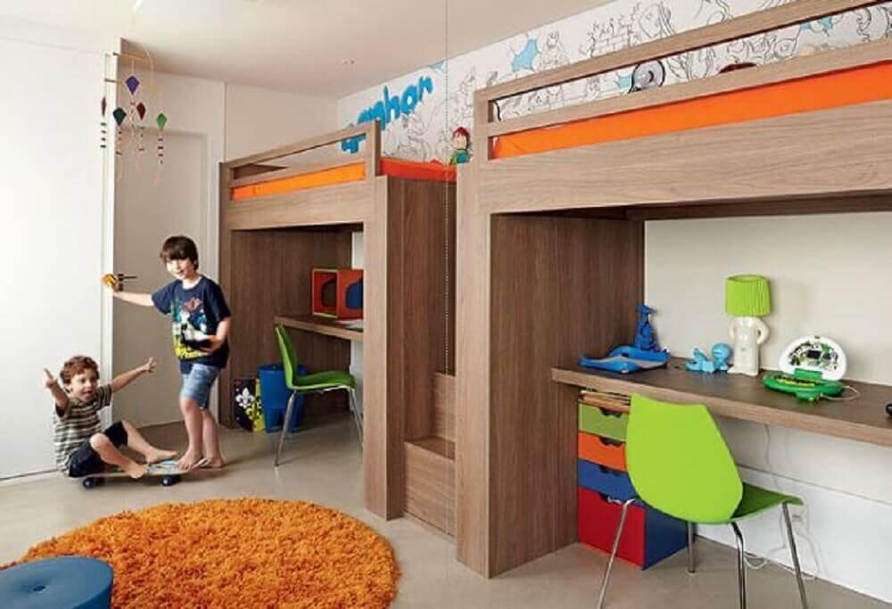 beliche infantil com escrivaninha para quarto de crianças