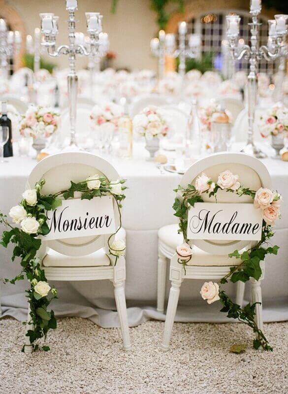 cadeiras de casamento decoradas