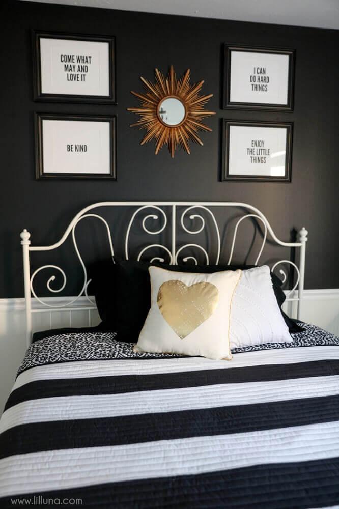 cama de ferro para quarto preto