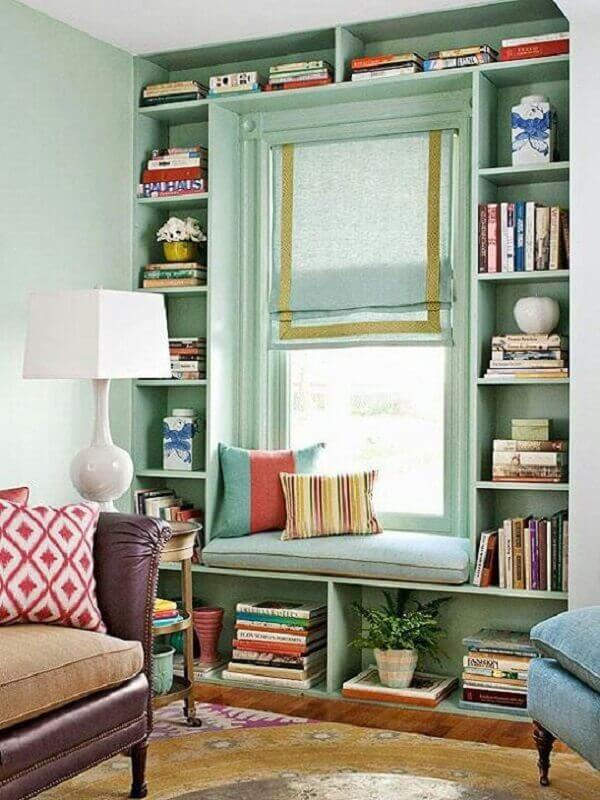cantinho de leitura para casa decorada