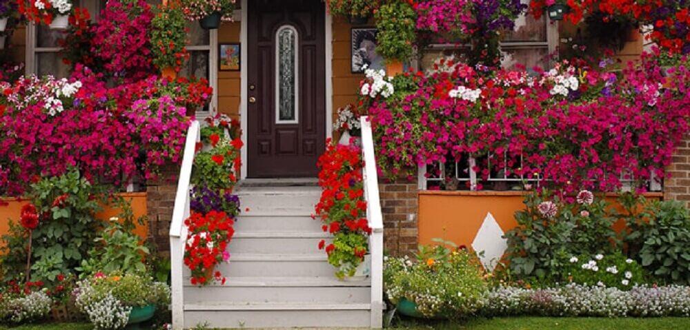 casa com jardim florido e colorido