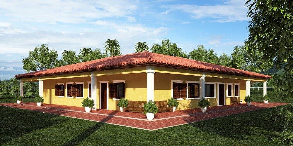 casa de fazenda com varanda de fora a fora