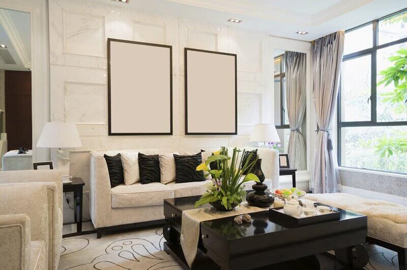 casa decorada em preto e branco