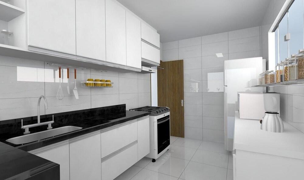 cozinha planejada simples com bancada preta