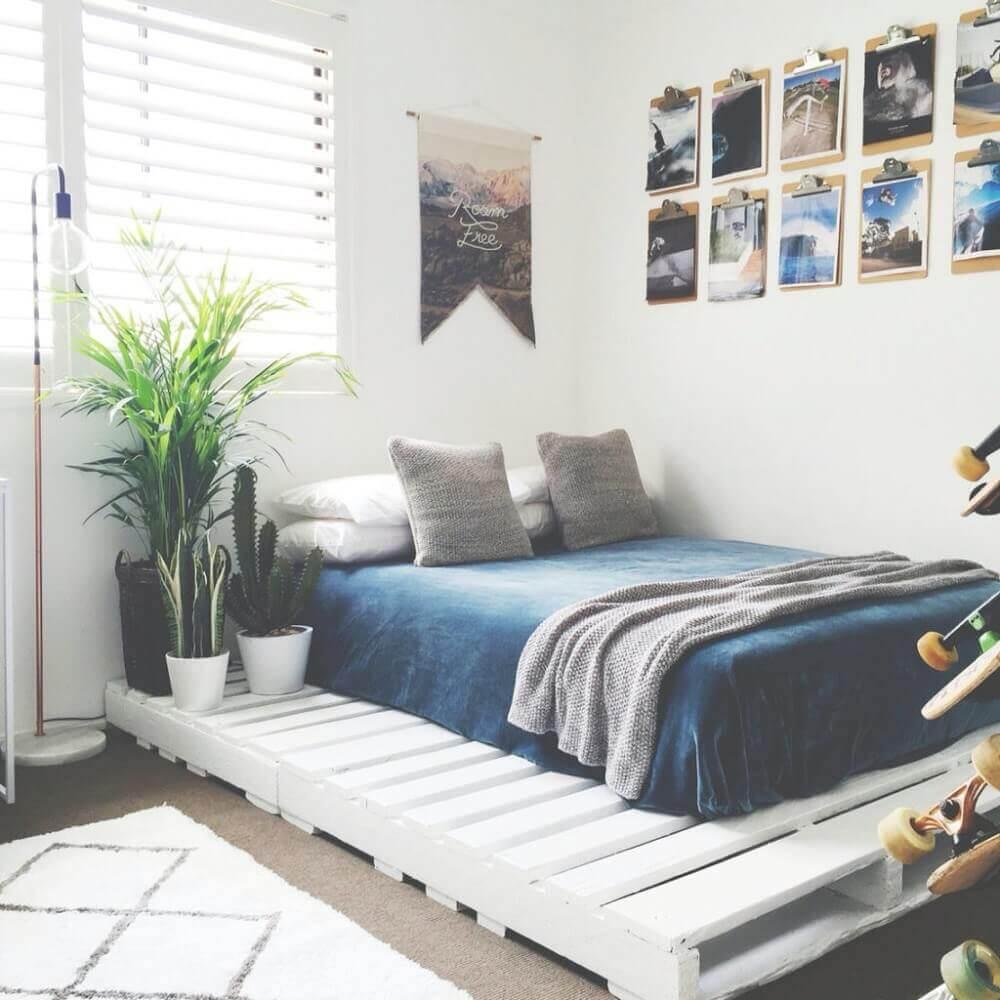 decoração com cama de paletes para quarto