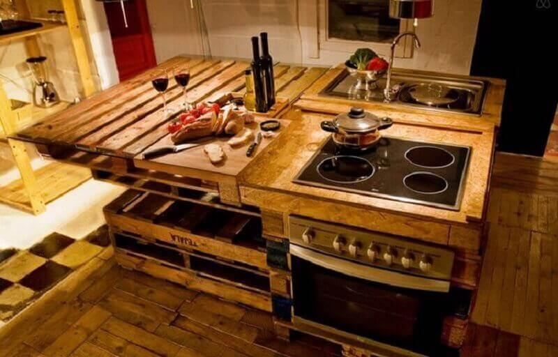 decoração cozinha ilha de pallets