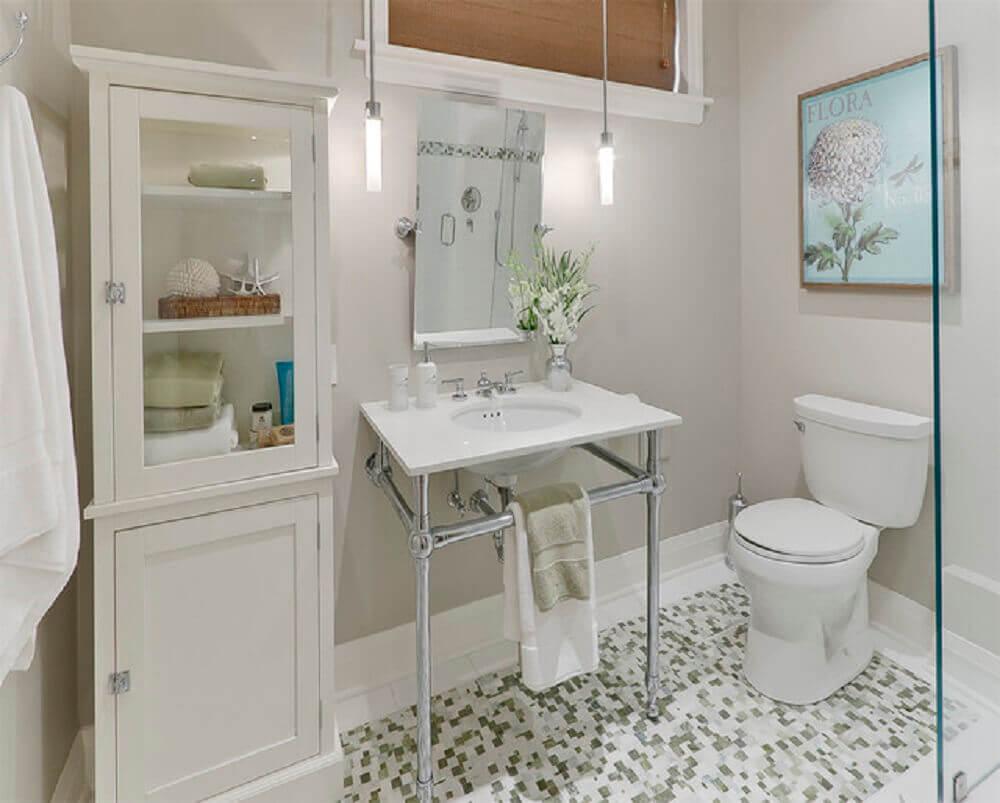 decoração de banheiro simples com pia diferente