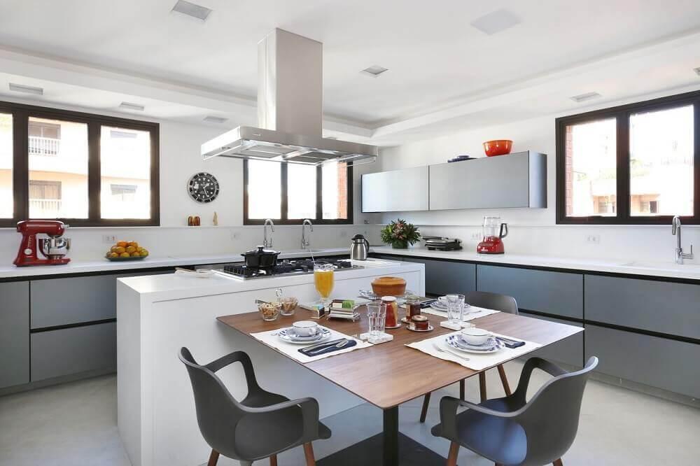 decoração de cozinha com ilha conjugada com sala de jantar
