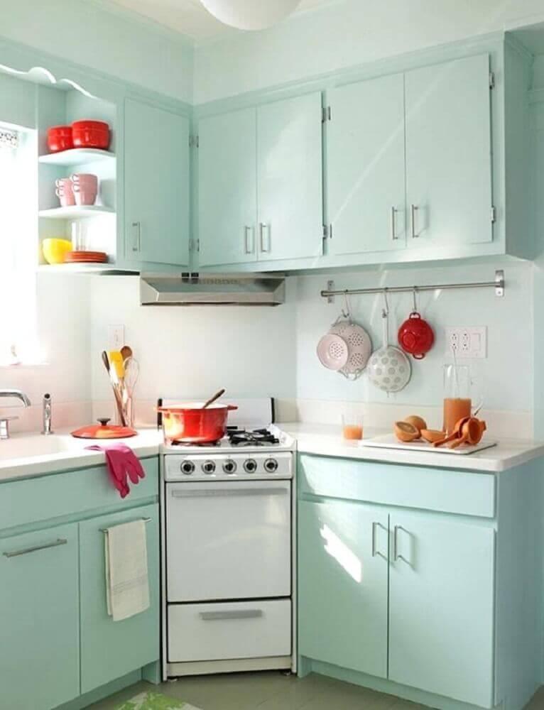 decoração de cozinha simples em tom pastel