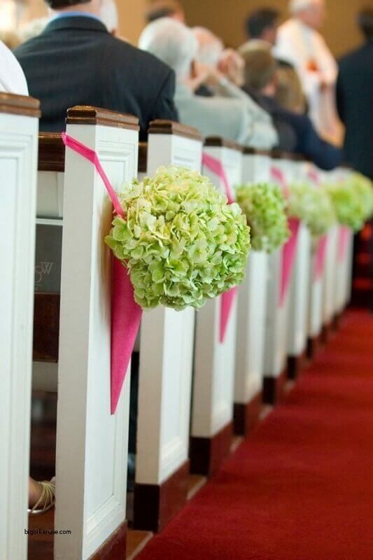 church decoration for wedding with bouquet of flowers