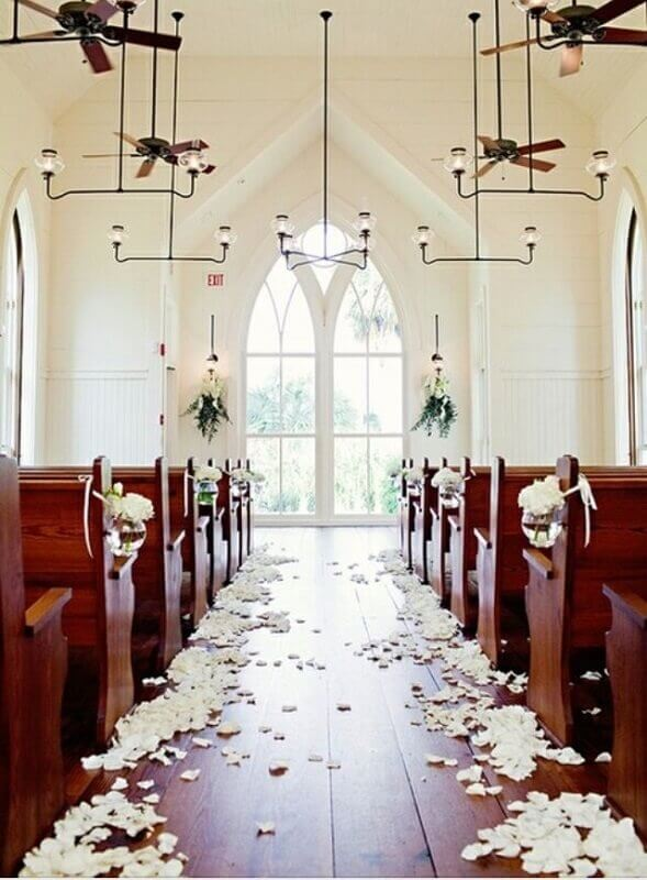 church decoration for wedding with rose petals