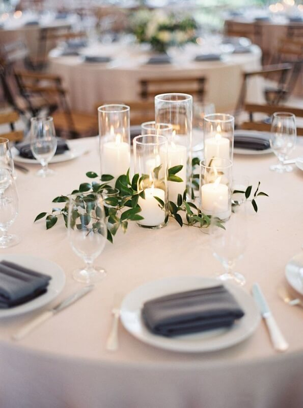 simple wedding table decoration with candles