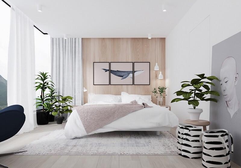 decoração minimalista no quarto com arte
