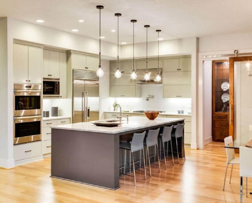 decoração moderna de cozinha com ilha