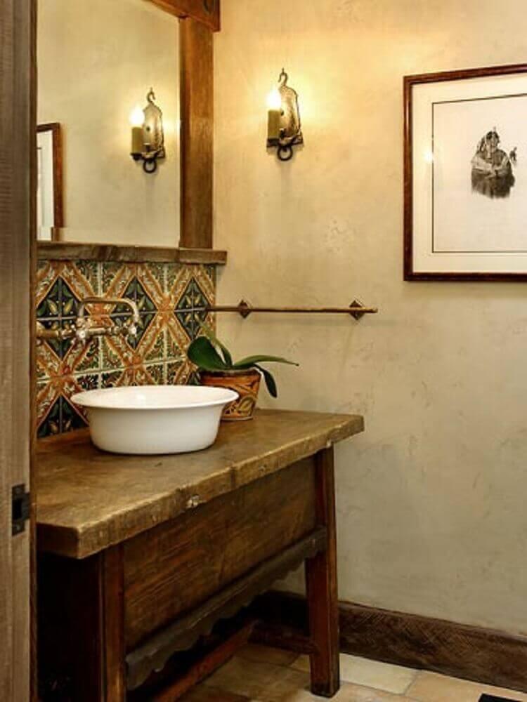 decoração rústica para lavabo