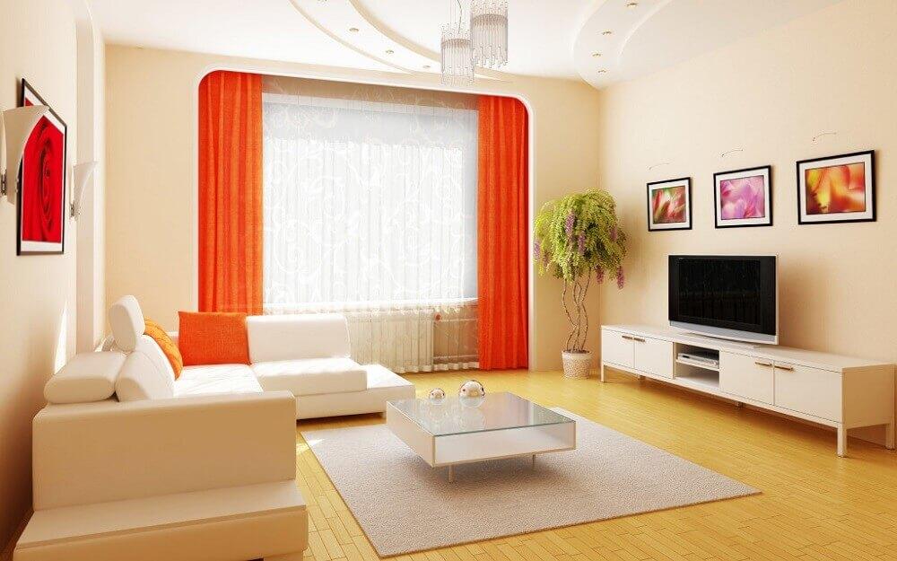 decoração simples com cortina