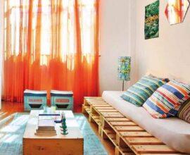 decoração simples com sofá de pallet para sala Foto Pinterest
