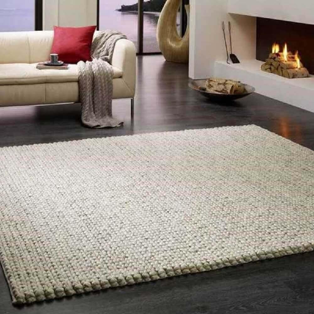 decoração sofisticada tapete de crochê quadrado.