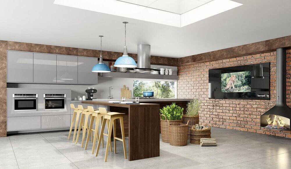 cozinha com textura tijolinho