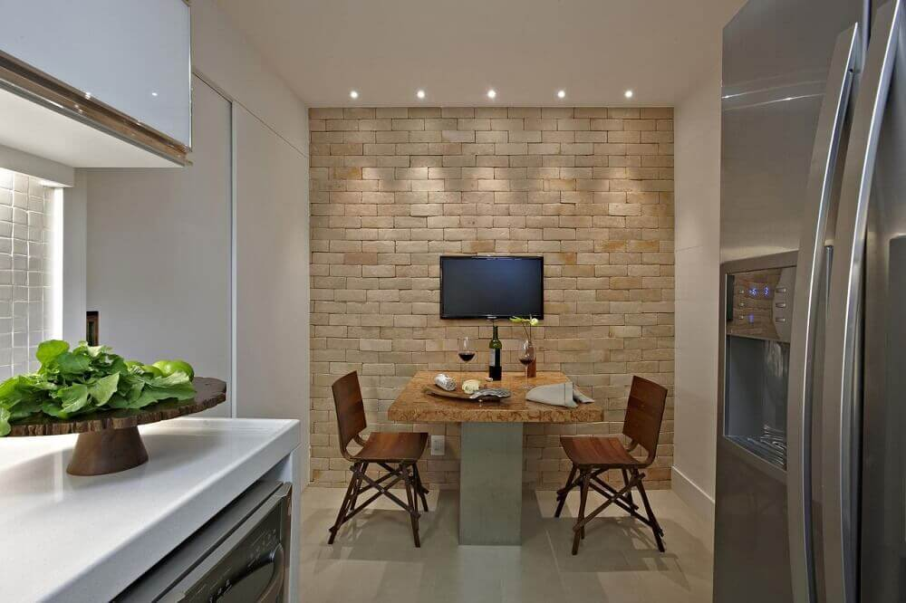 decoração cozinha com parede de tijolinho