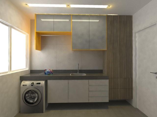 Área de serviço com armários de estilos diferentes. Projeto de Larissa