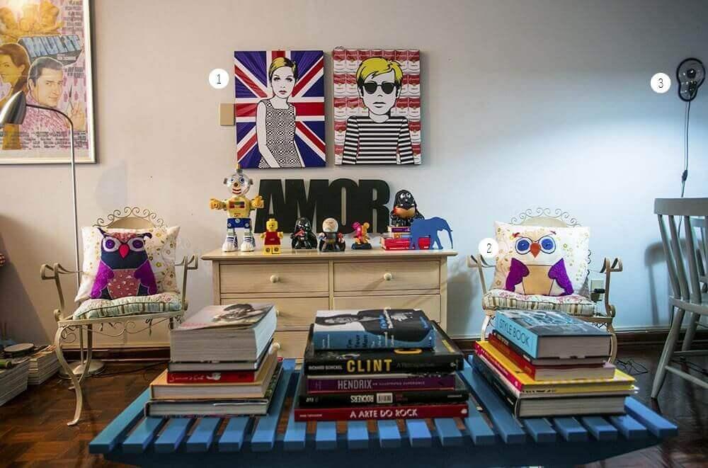 decoração sala de esta com mesa de centro de pallets