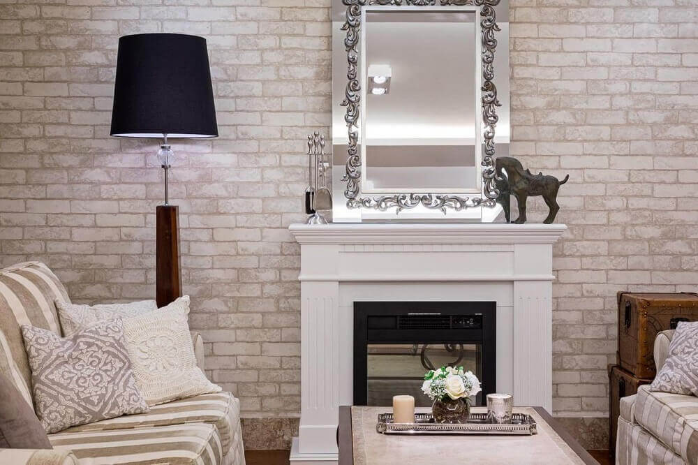 decoração de sala com tijolinho branco