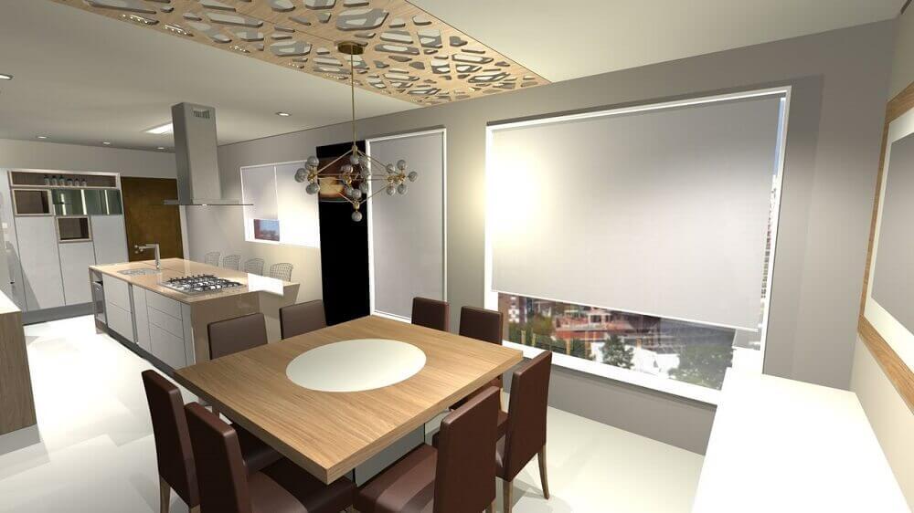 decoração cozinha com ilha conjugada com sala de jantar