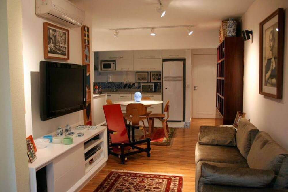 Decoração simples para sala integrada