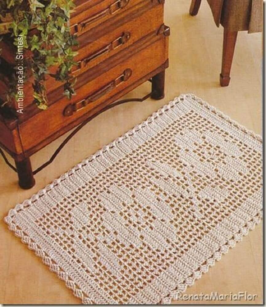 delicado tapete de crochê