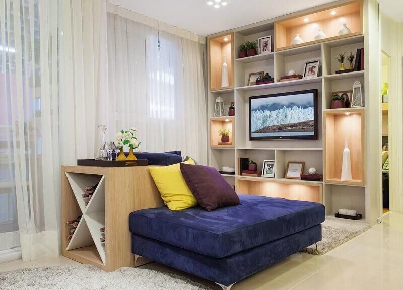 estante de nichos decoração de casa pequena