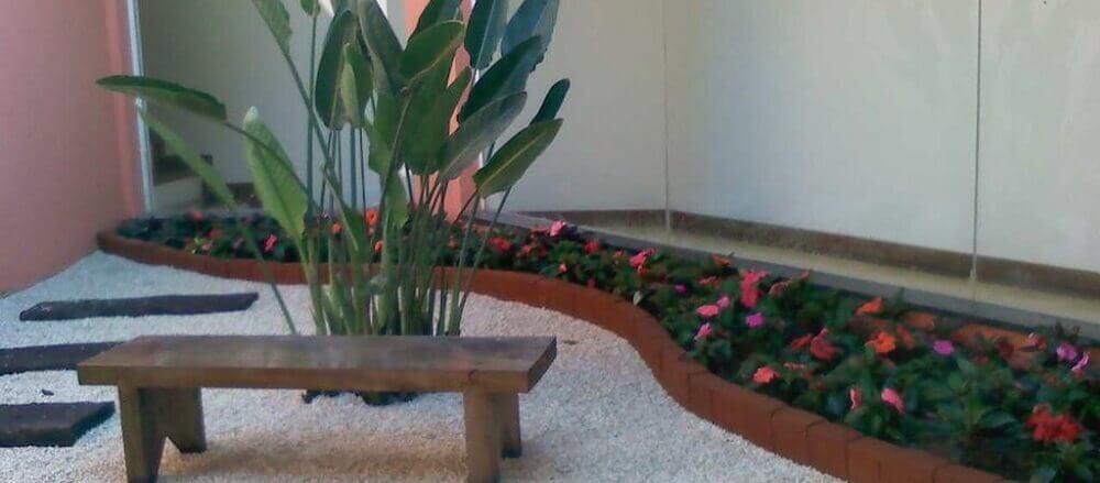 Jardim de inverno com flores