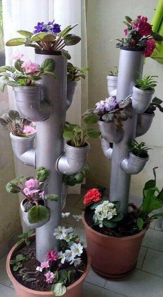 Jardim vertical com cano de PVC