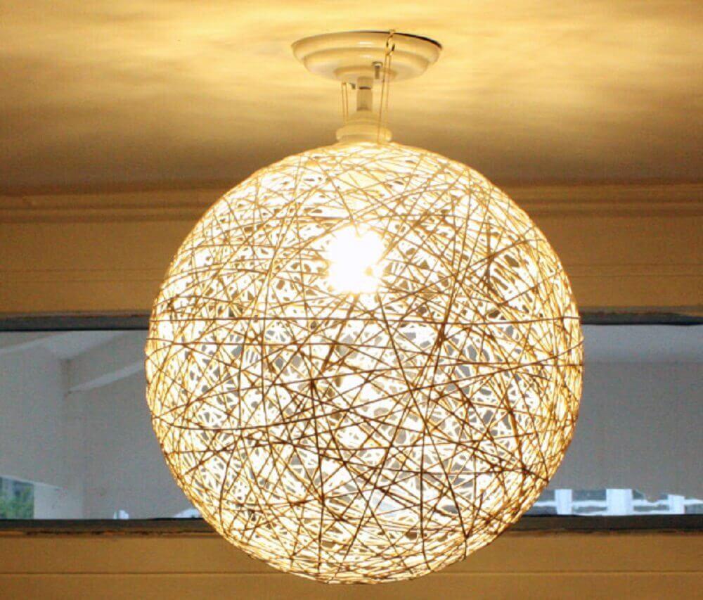 luminária de barbante