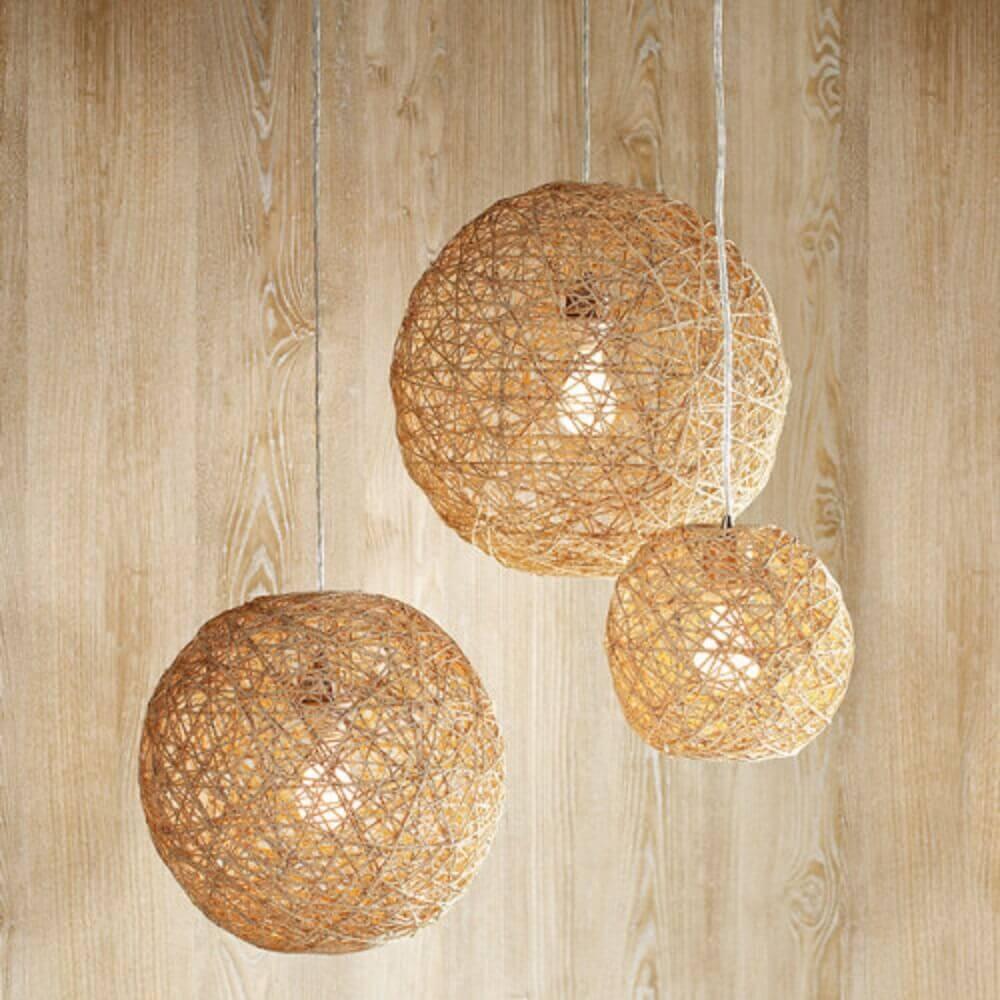 luminária feita com corda de sisal