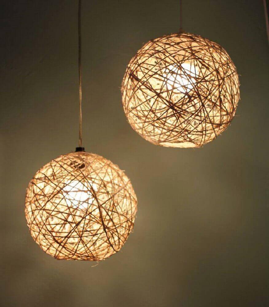 luminárias artesanais de barbante